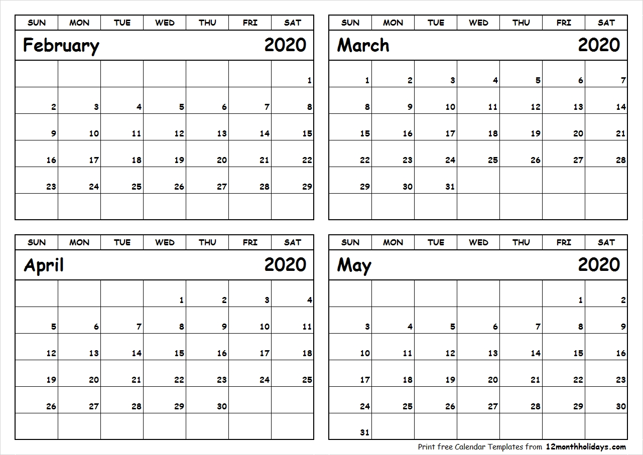 February-March-April-May-2020-Calendar-To-Print – All 12