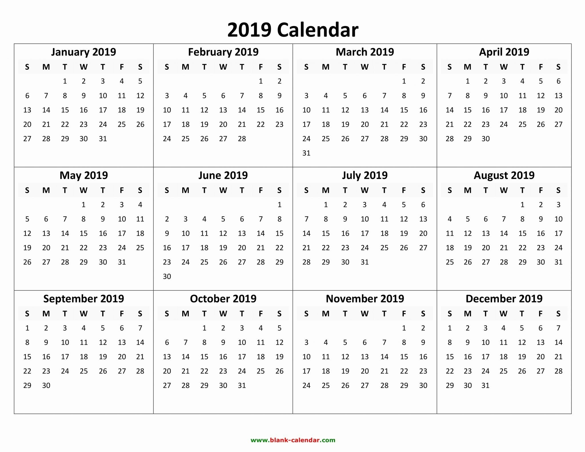 Free Printable Calendar 2019 With Holidays   Blank 12 Month