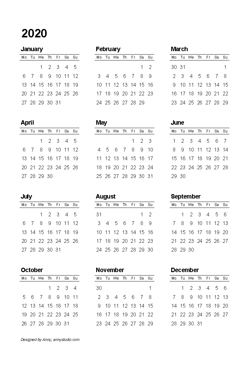 Free 2020 Calendar Portrait Layout 12 Months One Page