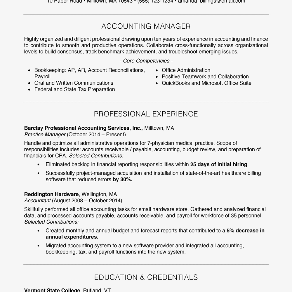 Professional Resume Sample Free
