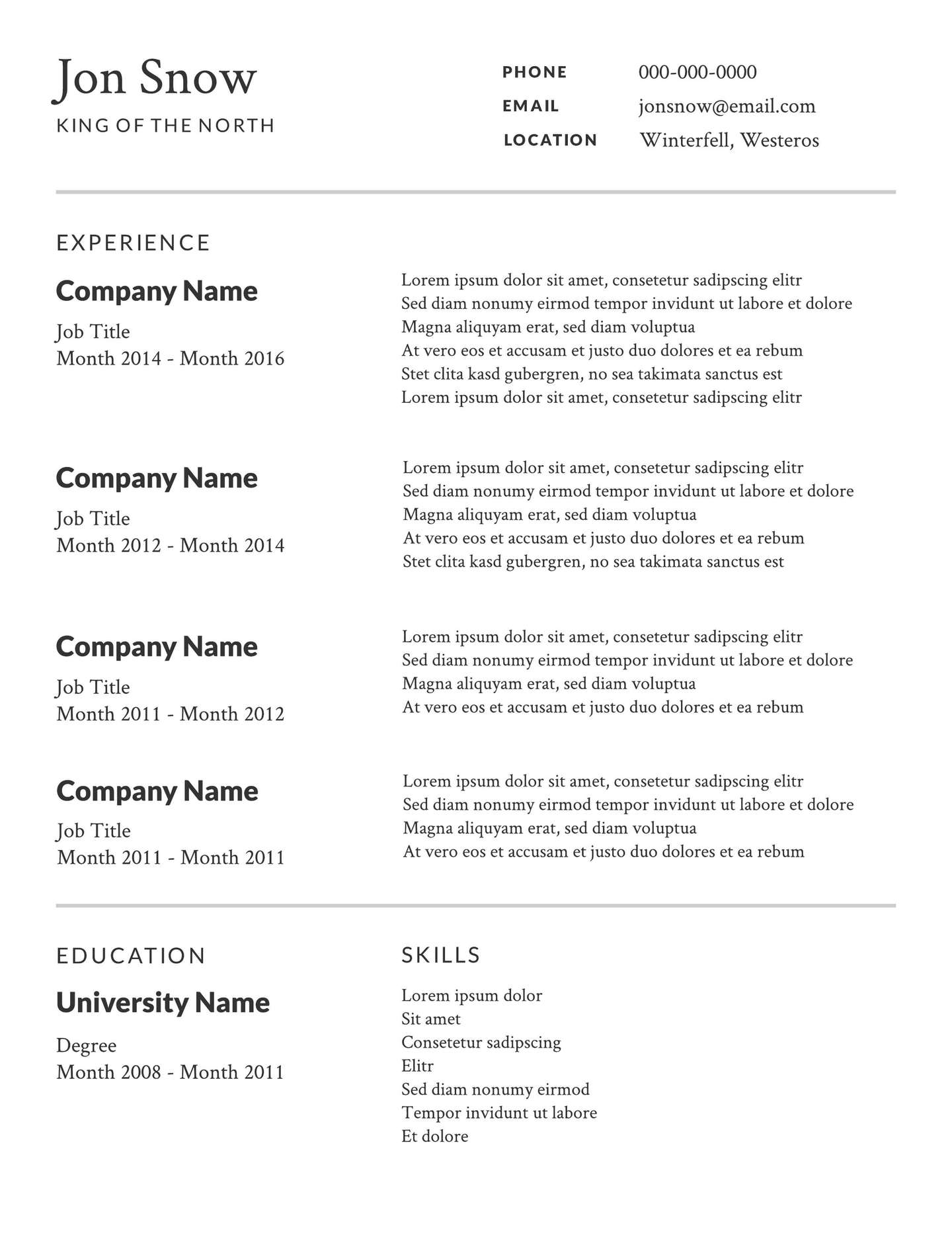 Free Examples Of Resume Template