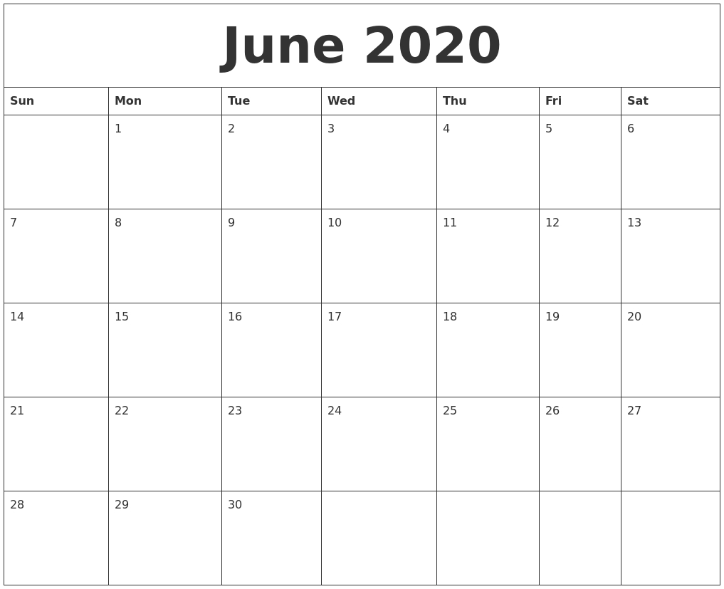 2020 Calendar May And June Fillable