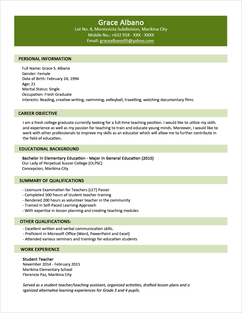 Sample Resume For Fresh College Graduate