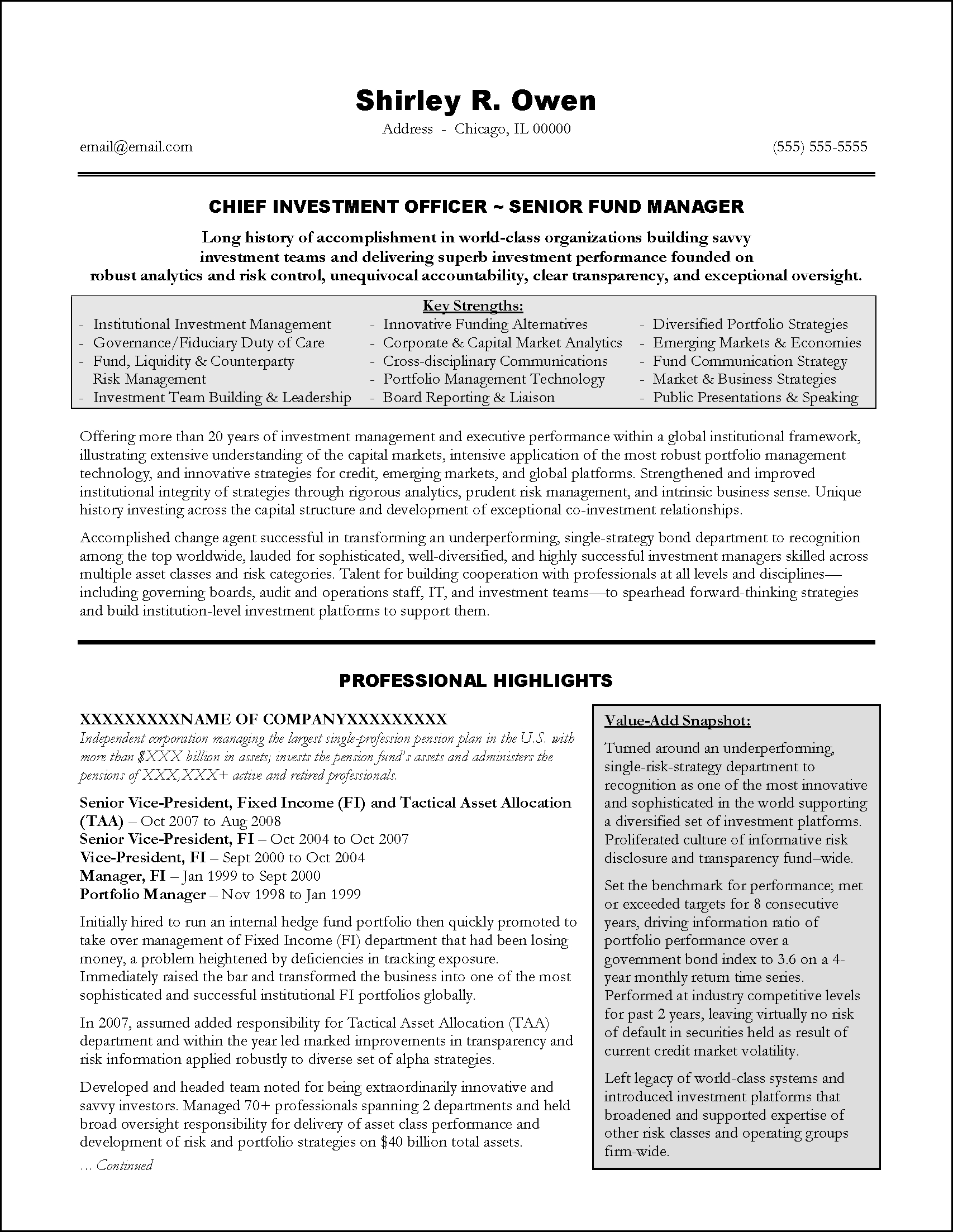 Banking Executive Manager Resume Template