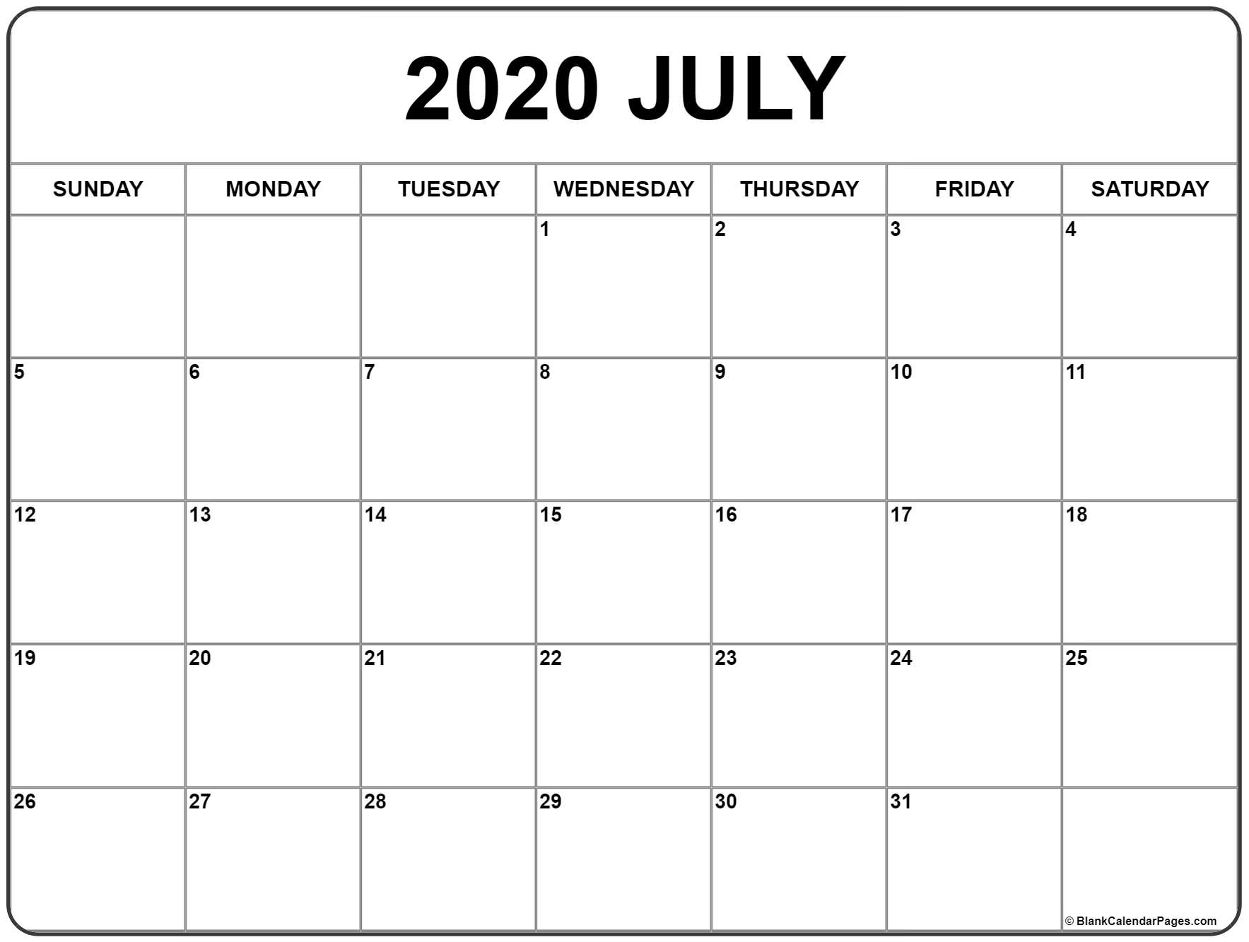 Calendar June And July 2020 Template