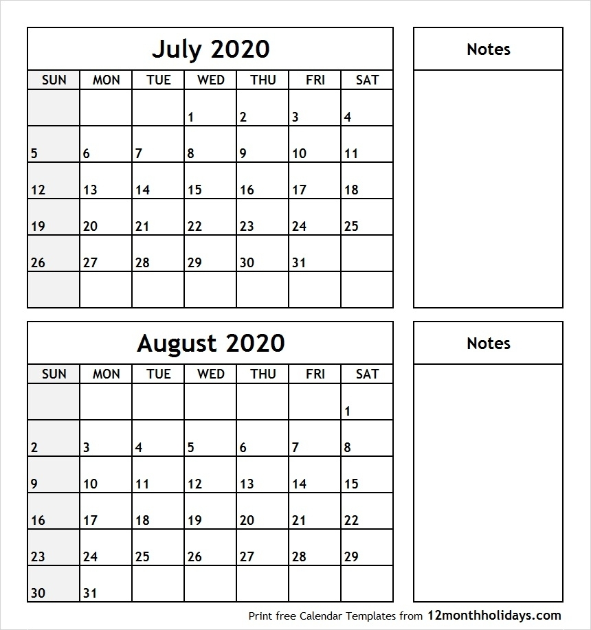 Printable Calendar July And August 2020