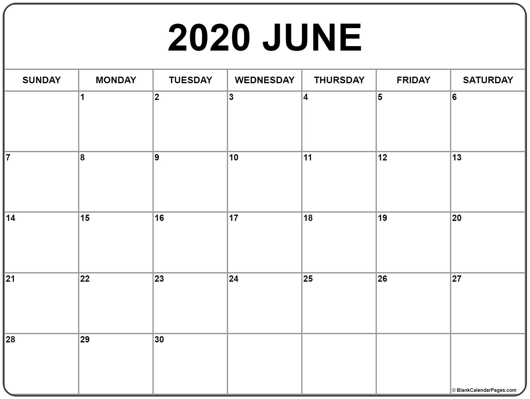 May To June 2020 Calendar Printable