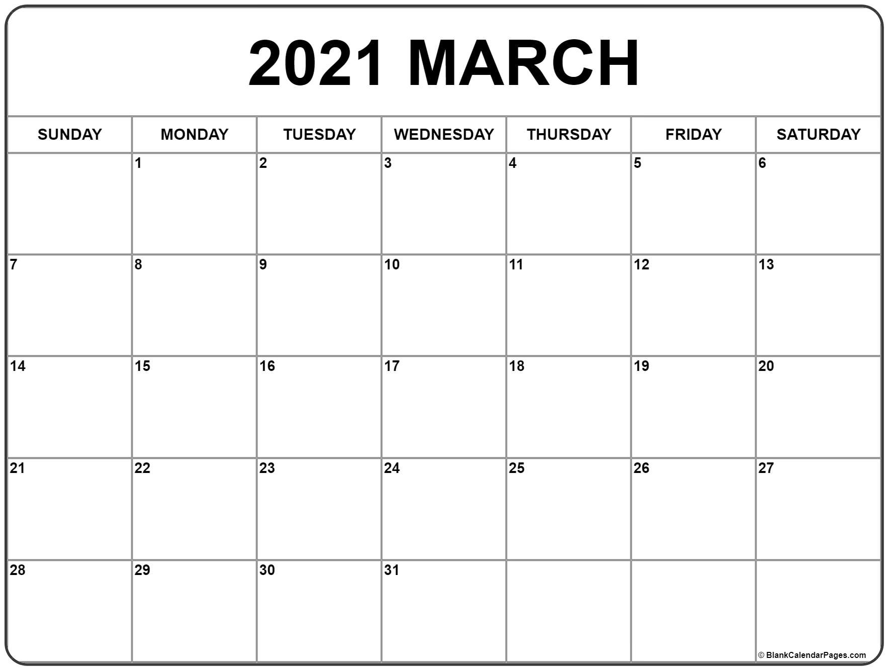 Blank March 2021 Calendar Printable Format