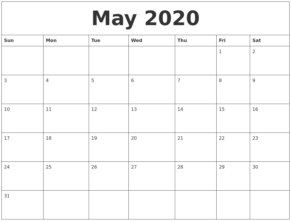 May June July And August 2020 Calendar Fillable