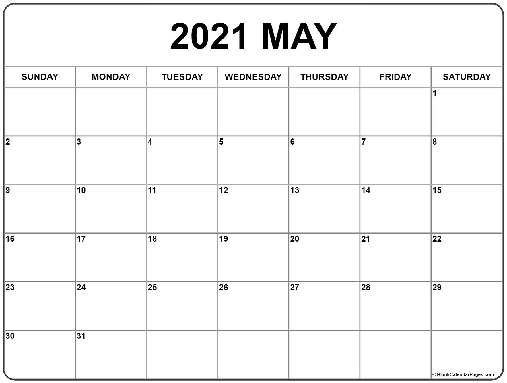 May 2021 Calendar With Notes