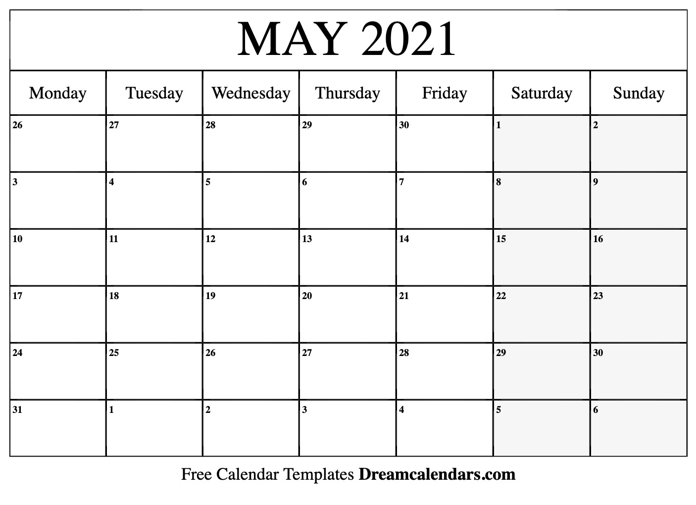 May 2021 Printable Calendar | Dream Calendars