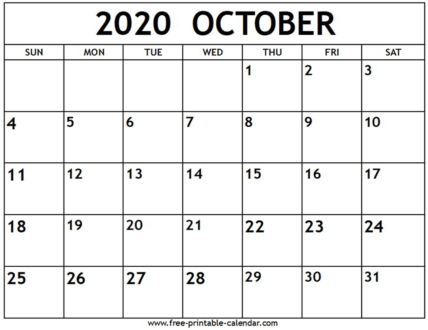 Printable July October 2020 Calendar Template