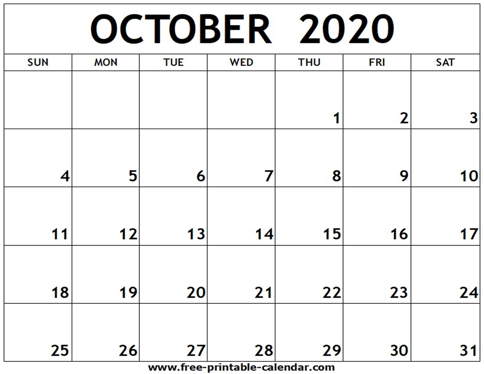 May To October 2020 Printable Calendar