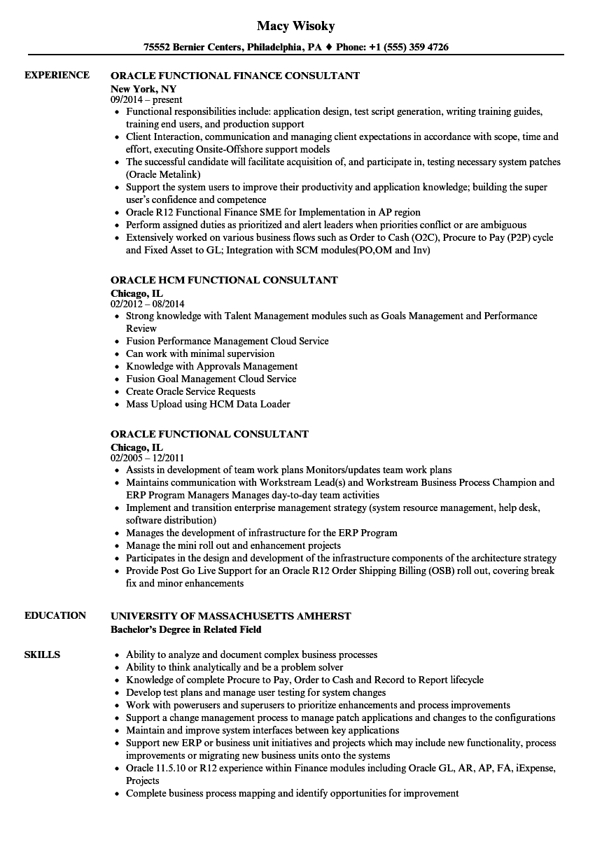 Oracle Financial Consultant Resume