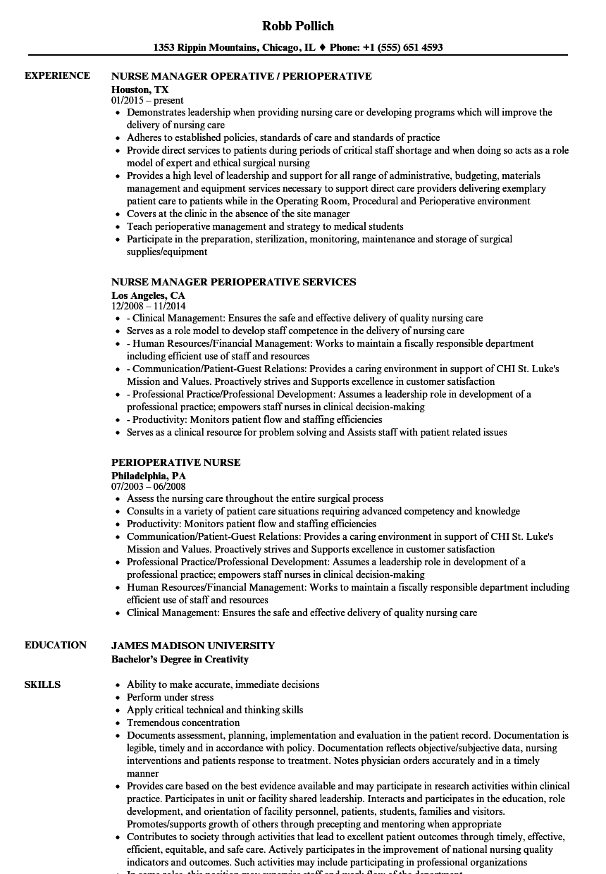 Perioperative Nurse Resume
