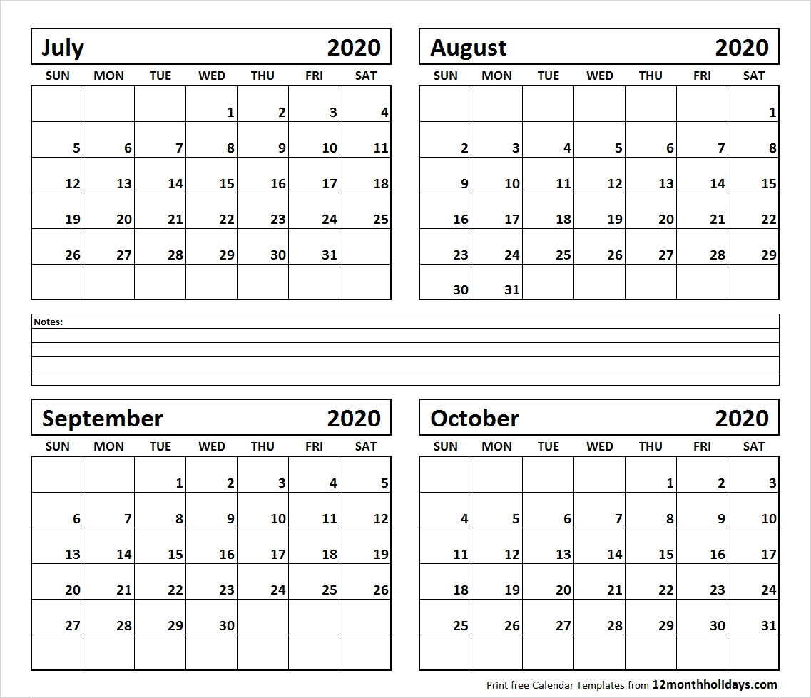 Fou Month Calendar July To October 2020