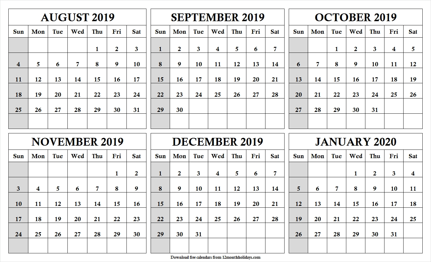 6 Month Calendar August 2020 To January 2020