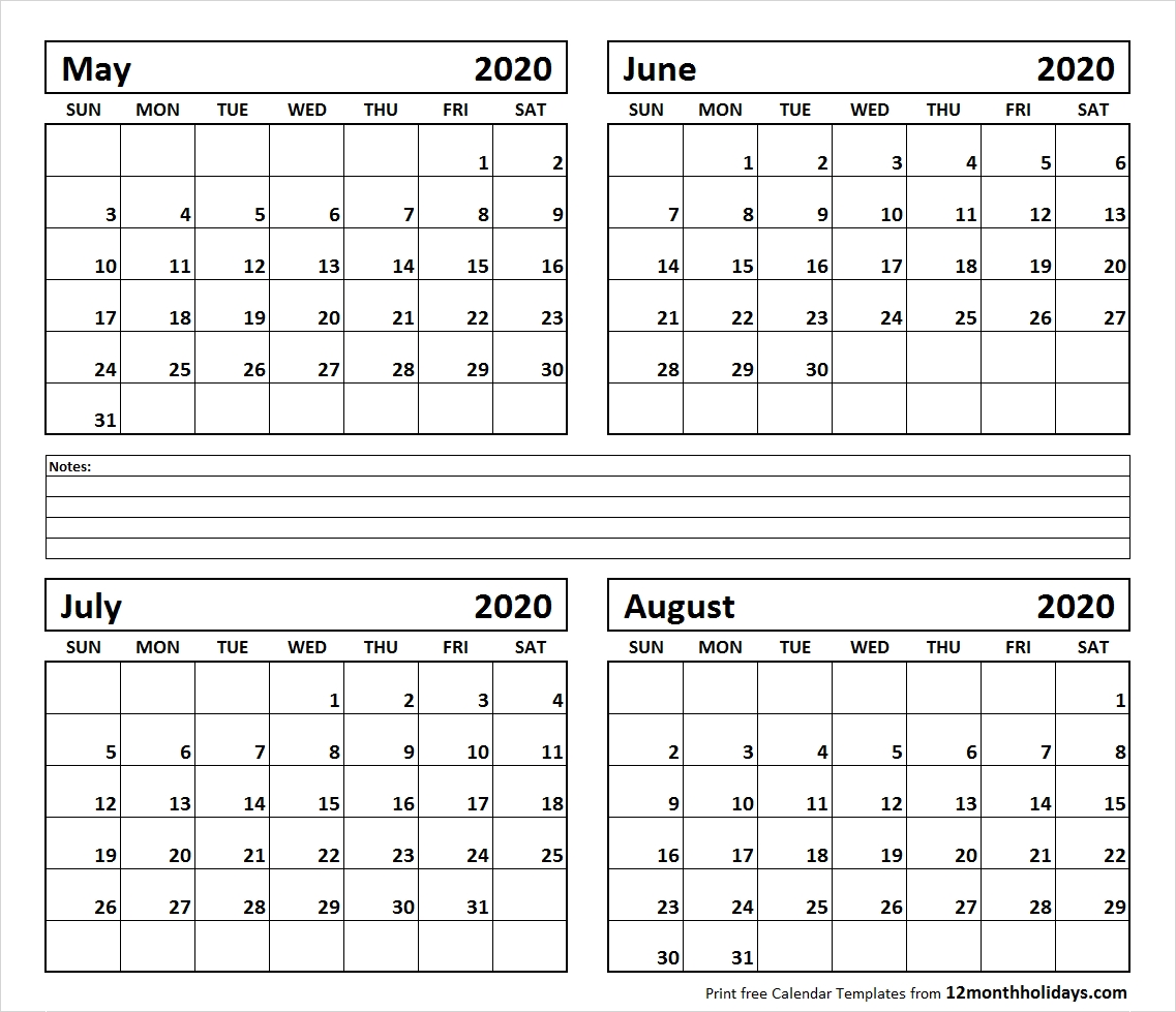 2020 Calendar June July And August