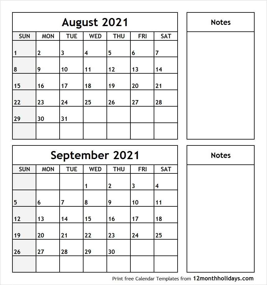 Two Month Calendar August September 2020