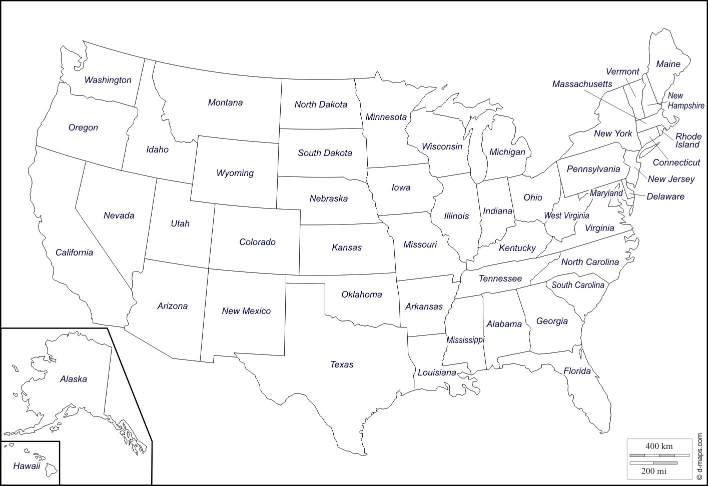 Printable Us Map State Names