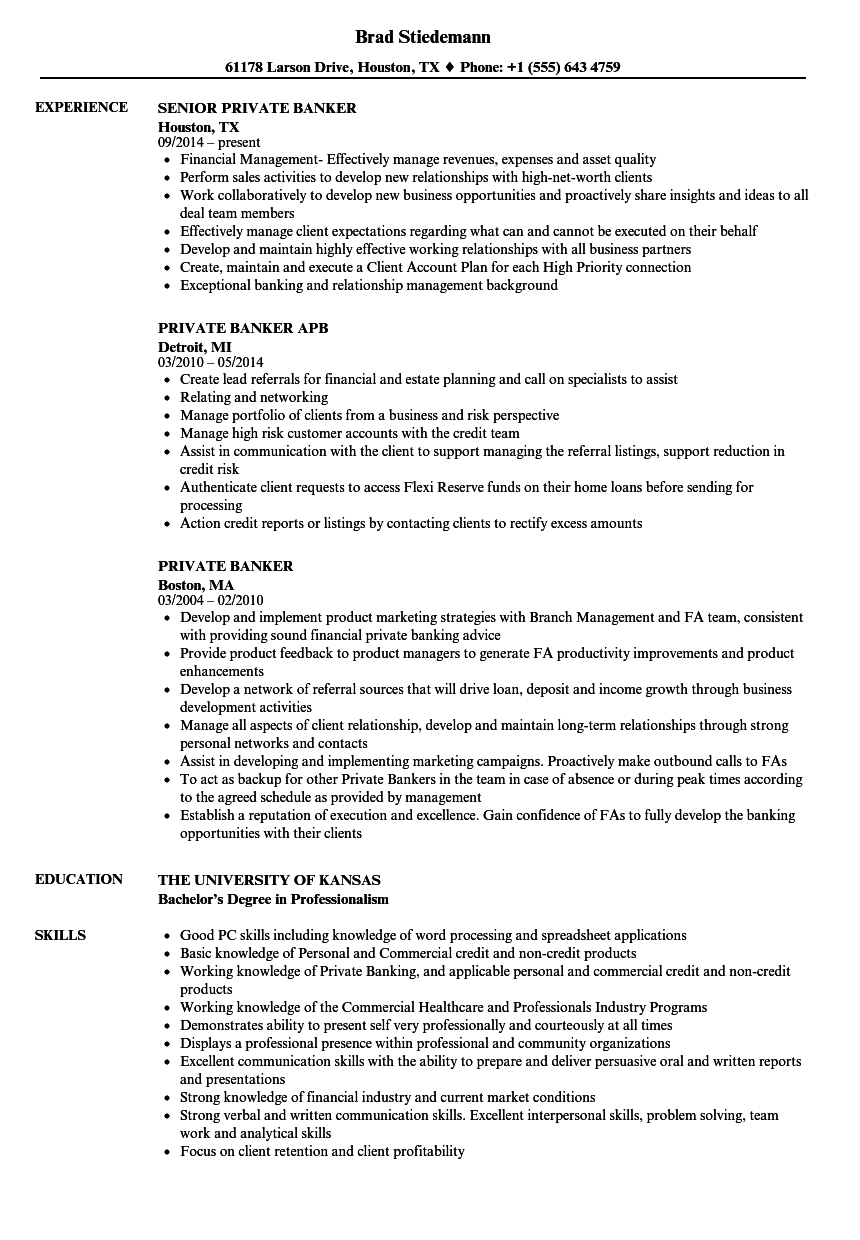Private Banker Resume Example