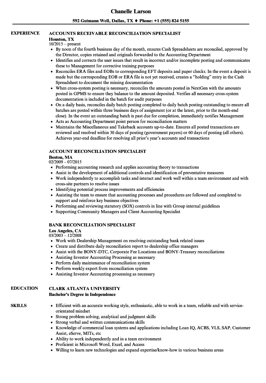 Reconciliation Accounting Resume