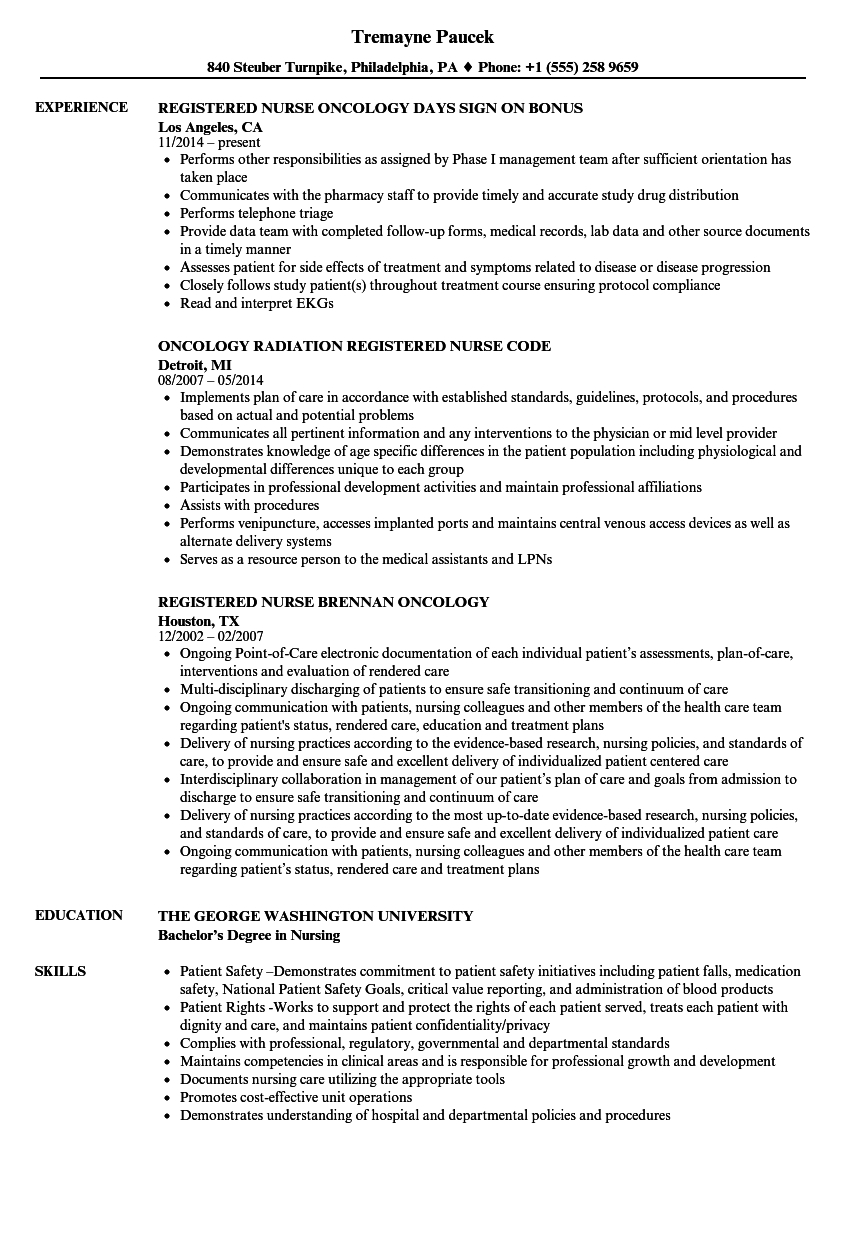Oncology Nurse Resume Format