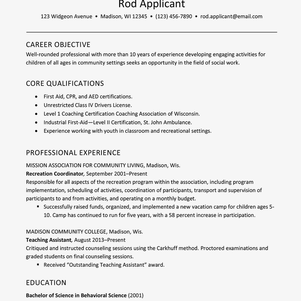 Resume Template For Child Care Worker