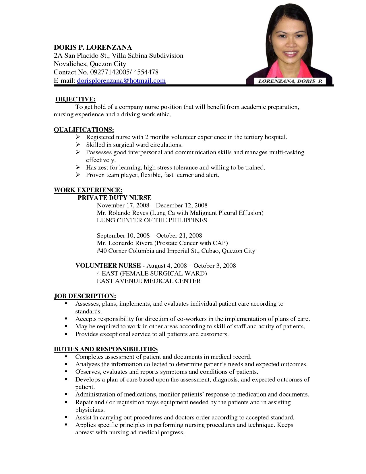 Sample Nursing Curriculum Vitae Templates