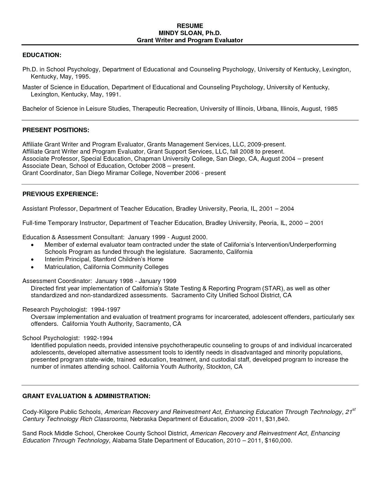 Cv Psychology Graduate School Sample
