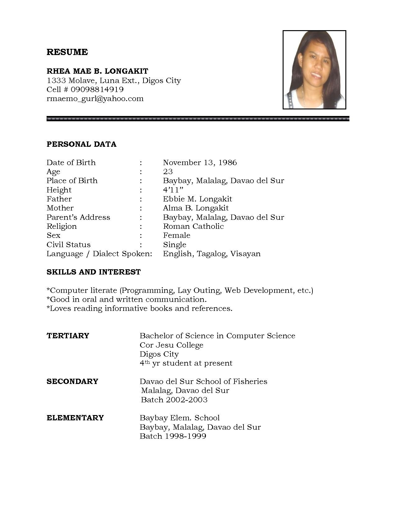 Resume ~ How To Write Simple Resume With Photo Format In