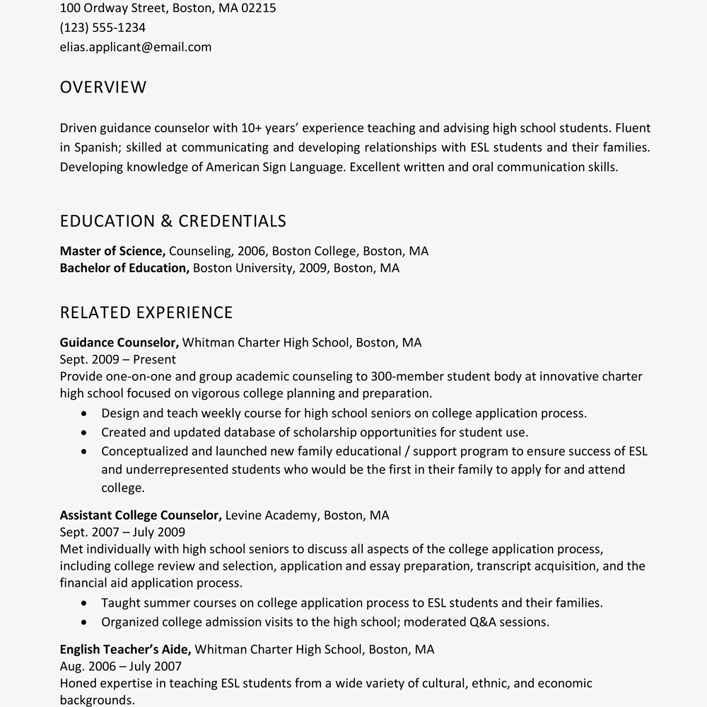 Sample Resume Skills Profile