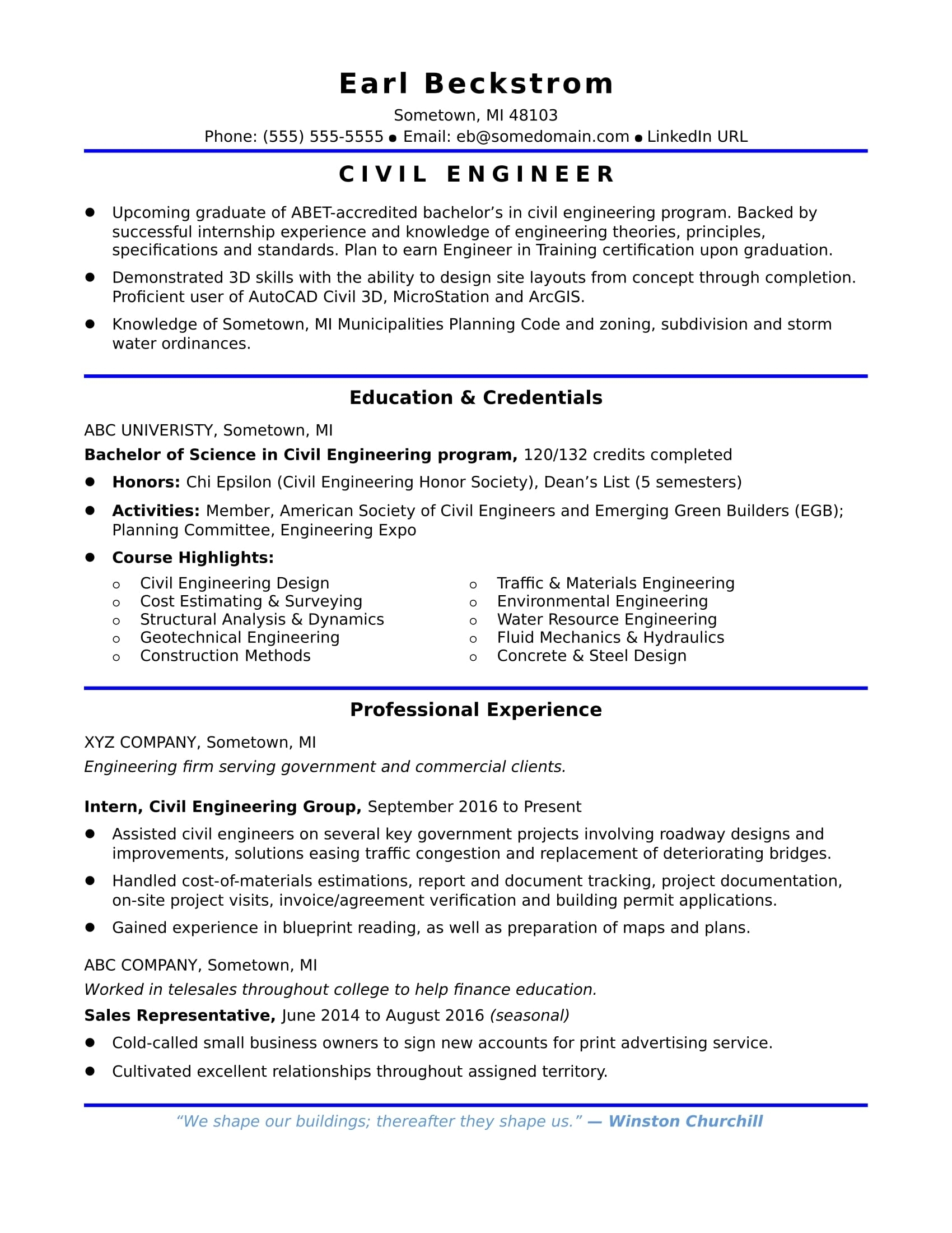 Civil Engineering Student Resume