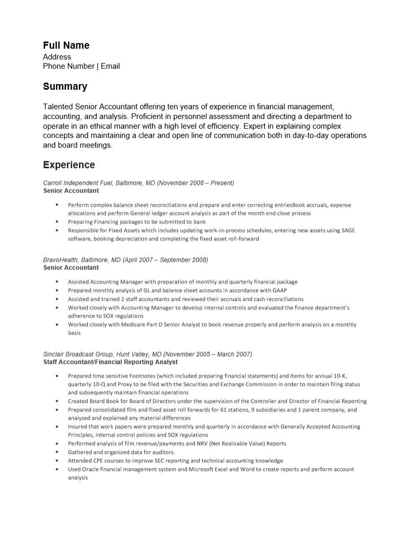 Accounting Resume Template Free