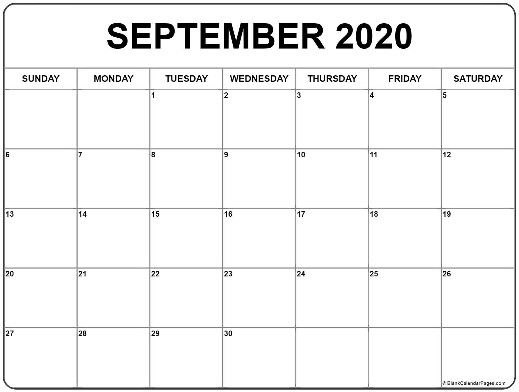 September 2020 Monthly Calendar Pdf Jpg