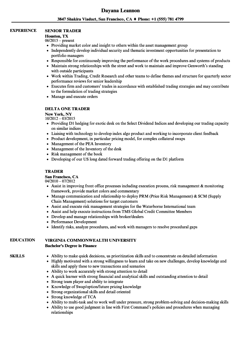 Trader Resume Samples | Velvet Jobs