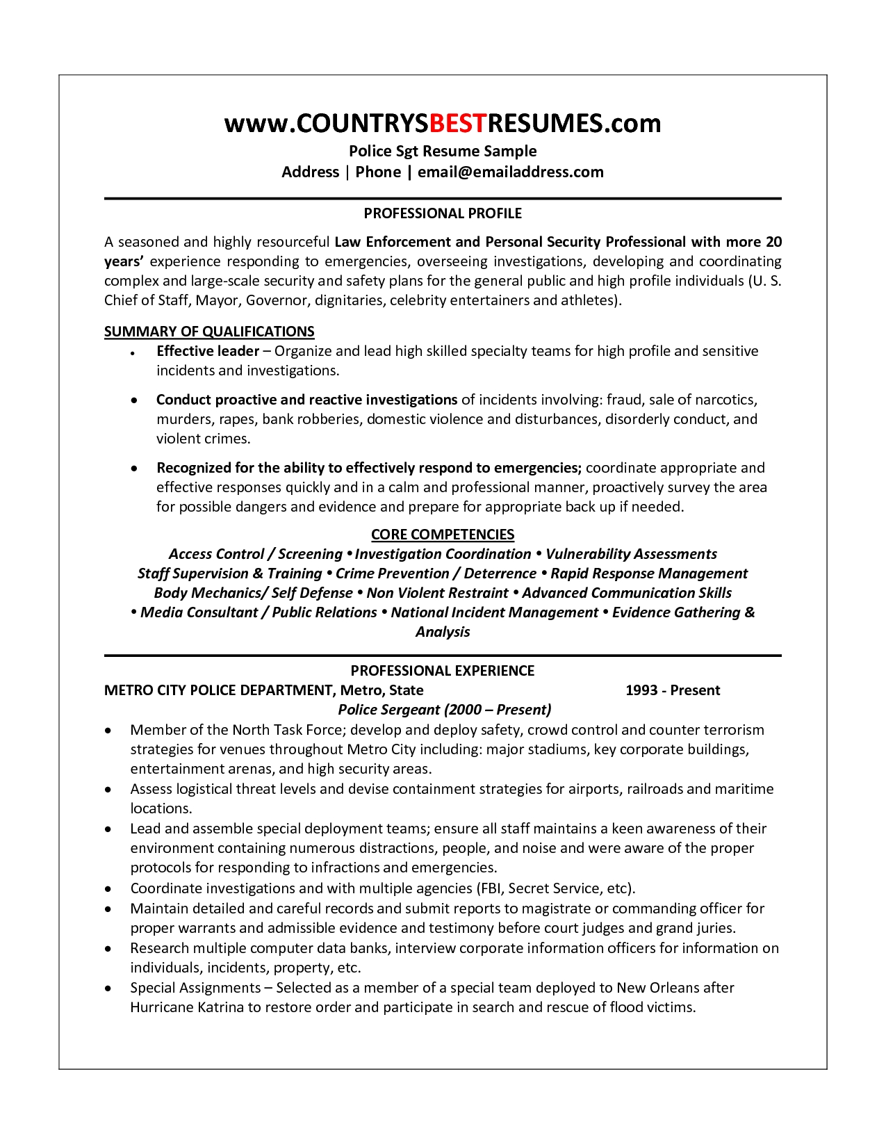 Police Captain Resume Example