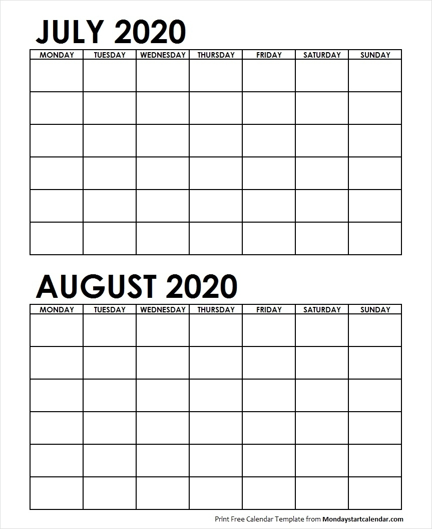 Two Month Calendar July August 2020