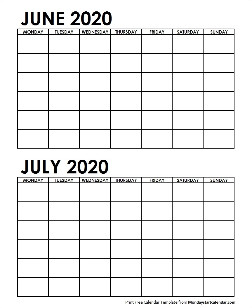 Two Month Calendar June July 2020