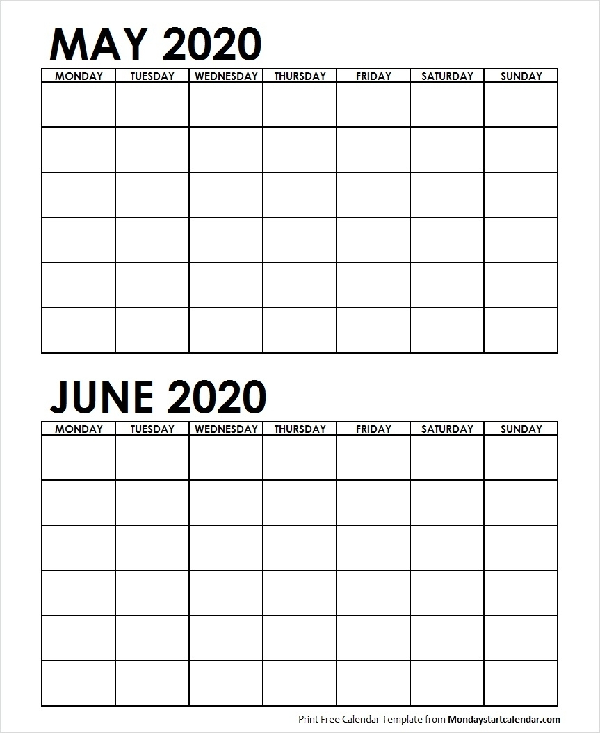May To June Two Month 2020 Calendar
