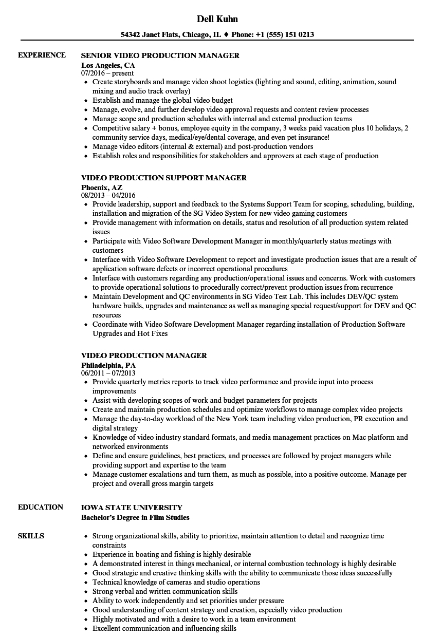Production Manager Resume Television