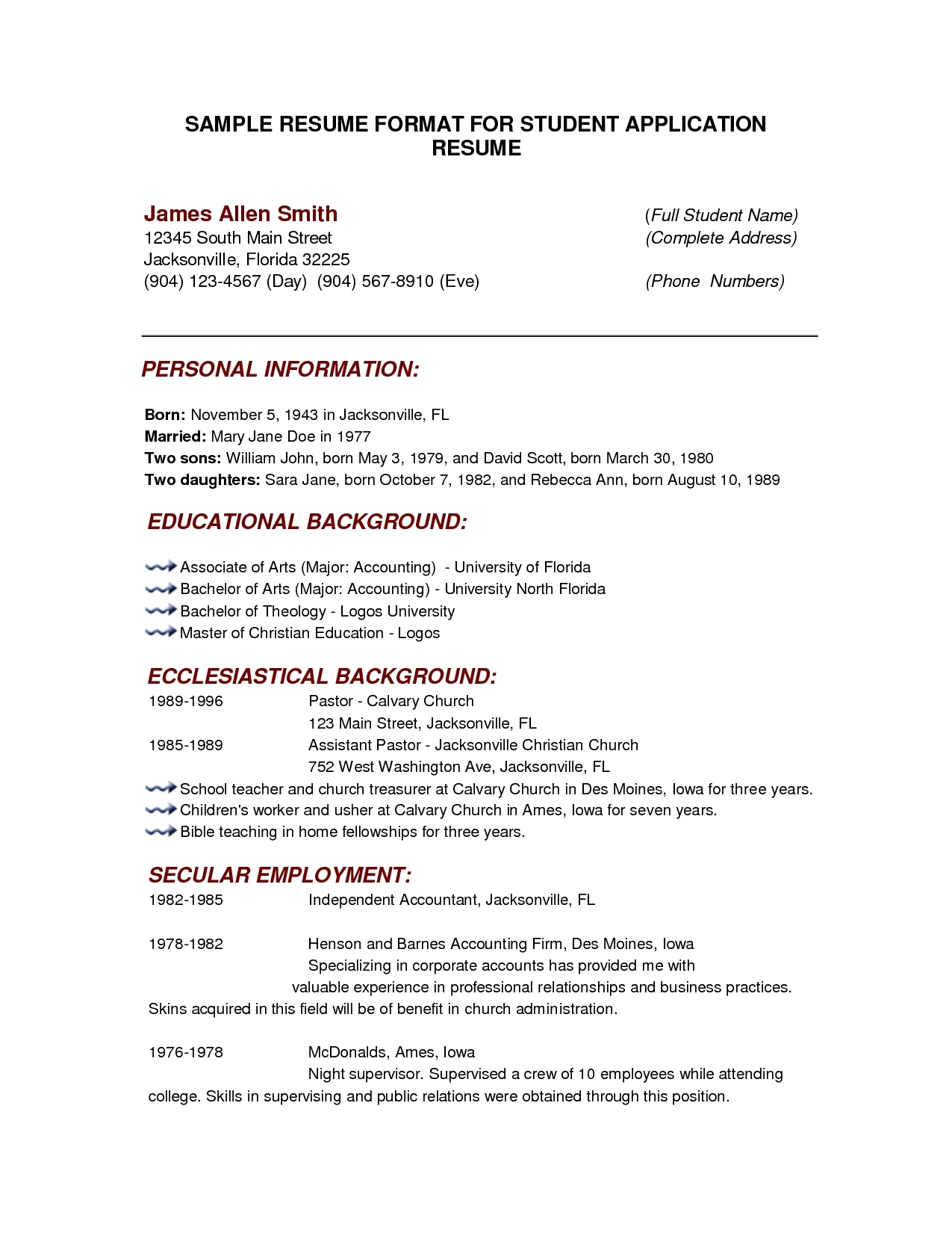 Sample Curriculum Vitae Format For Students