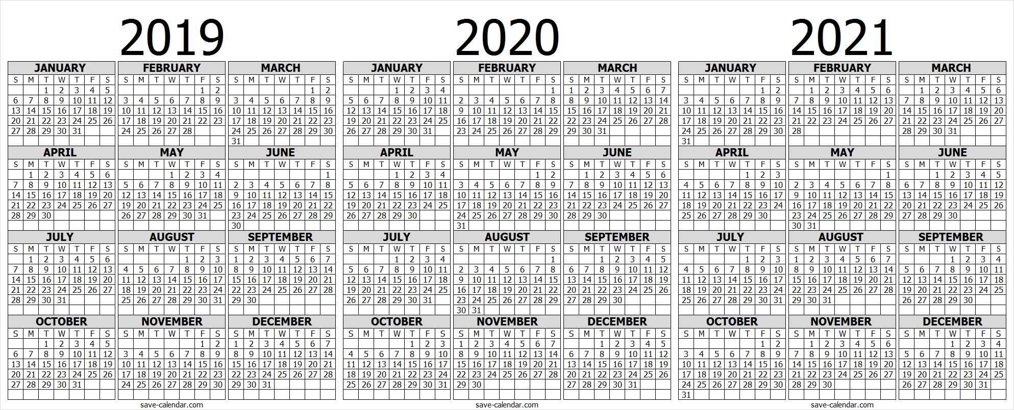 2021 Blank Yearly Calendar Full Page For Adult