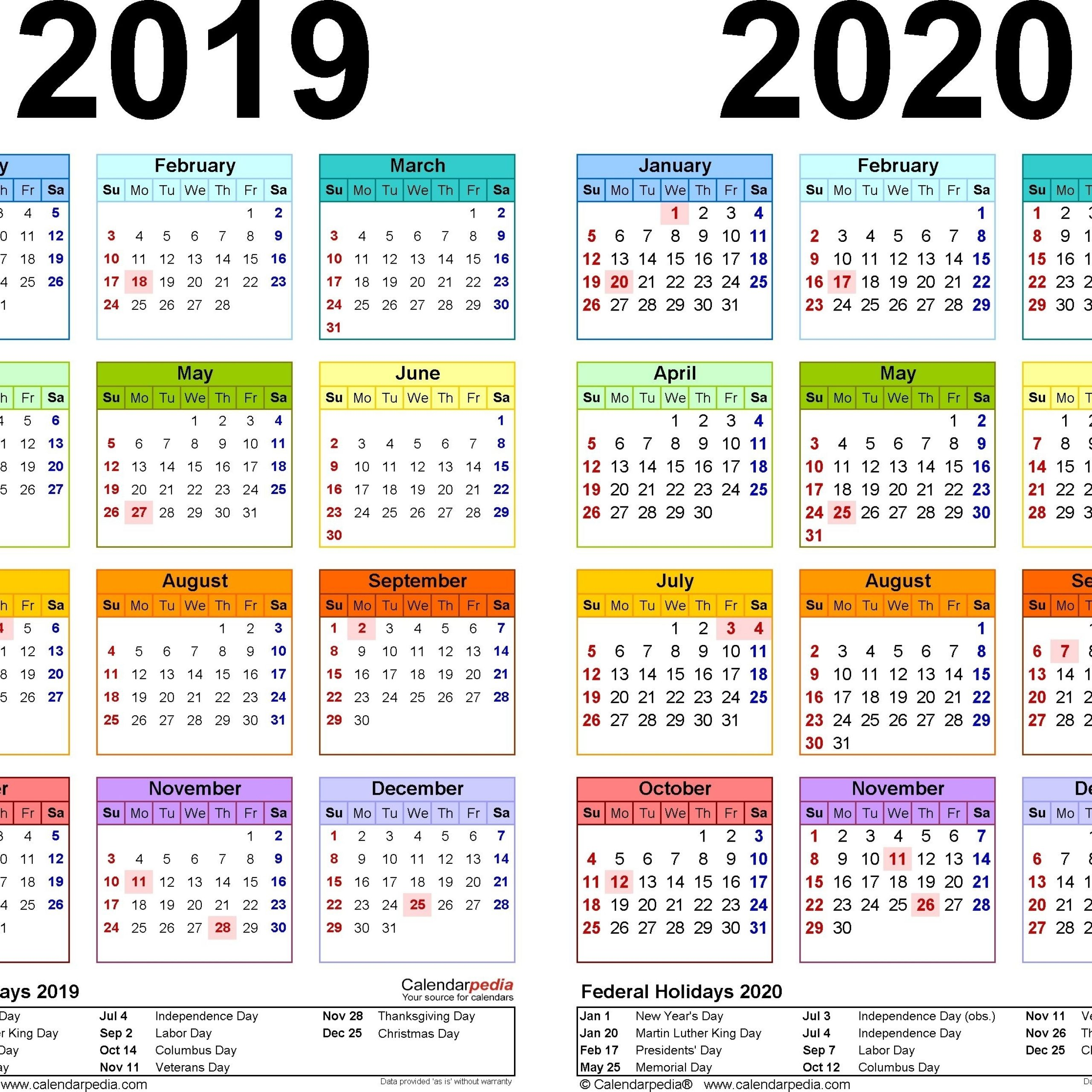 2019 And 2020 Calendar Printable With Explanation