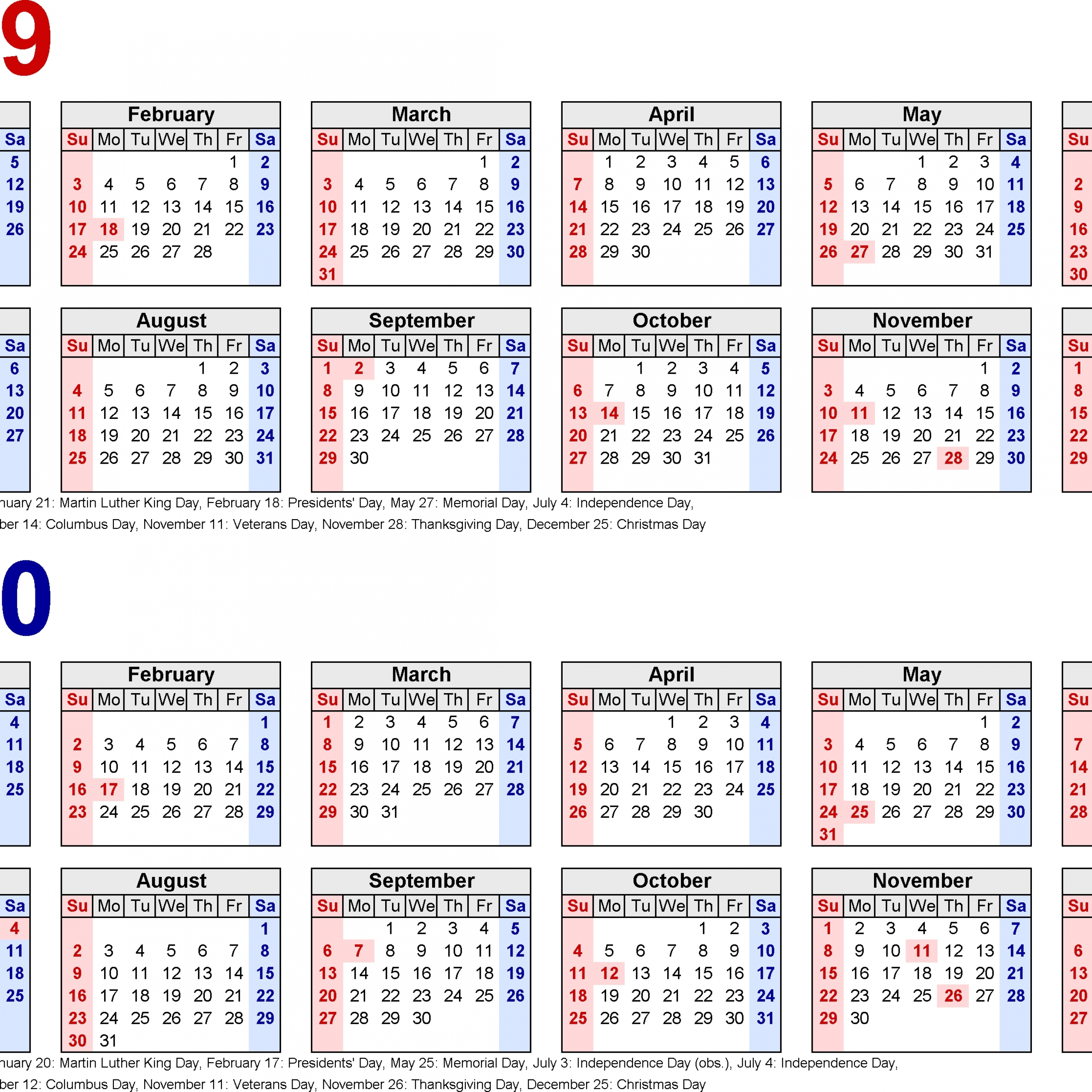 2019-2020 Two Year Calendar – Free Printable Word Templates