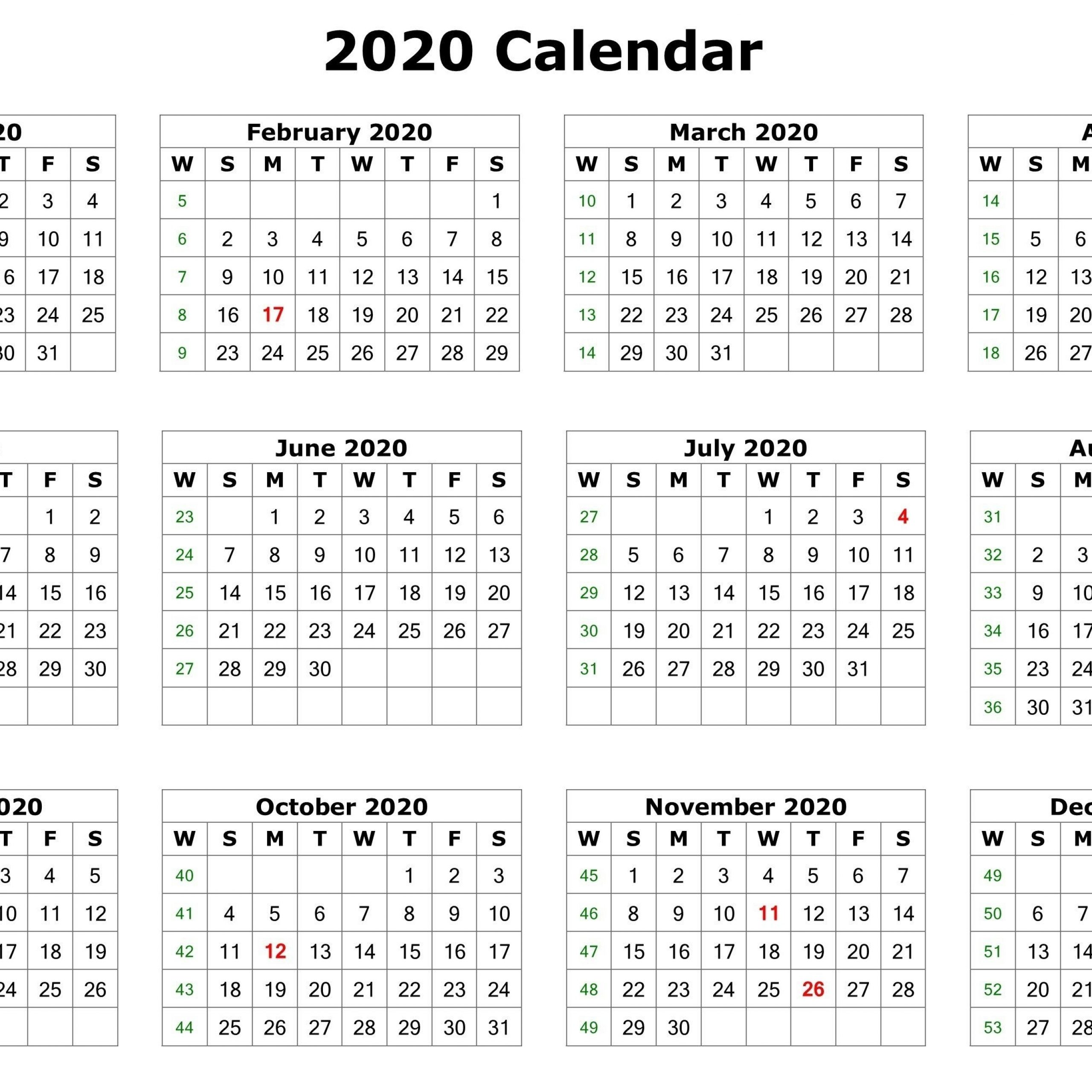 2020 Yearly Calendar Printable 12 Months
