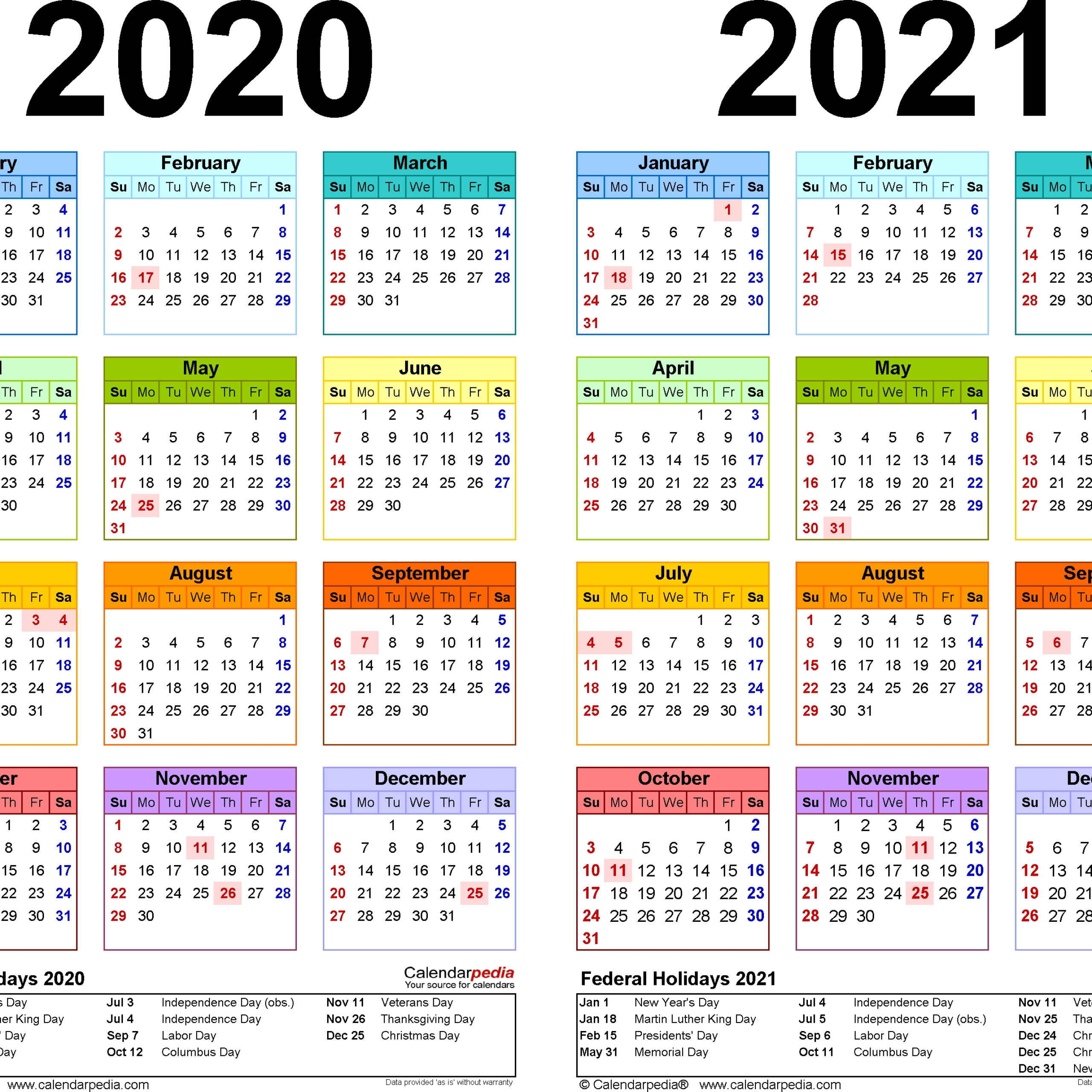 2021 And 2020 Calendar With Holidays Free
