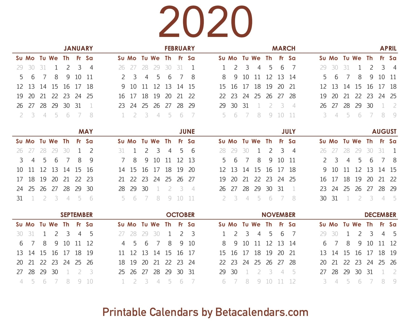 March April May June July August 2020 Calendar