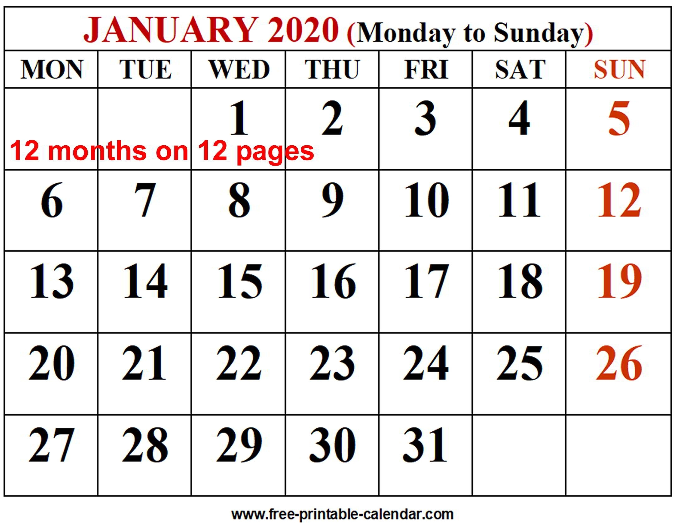 Calender Print Outs 2020 All Months