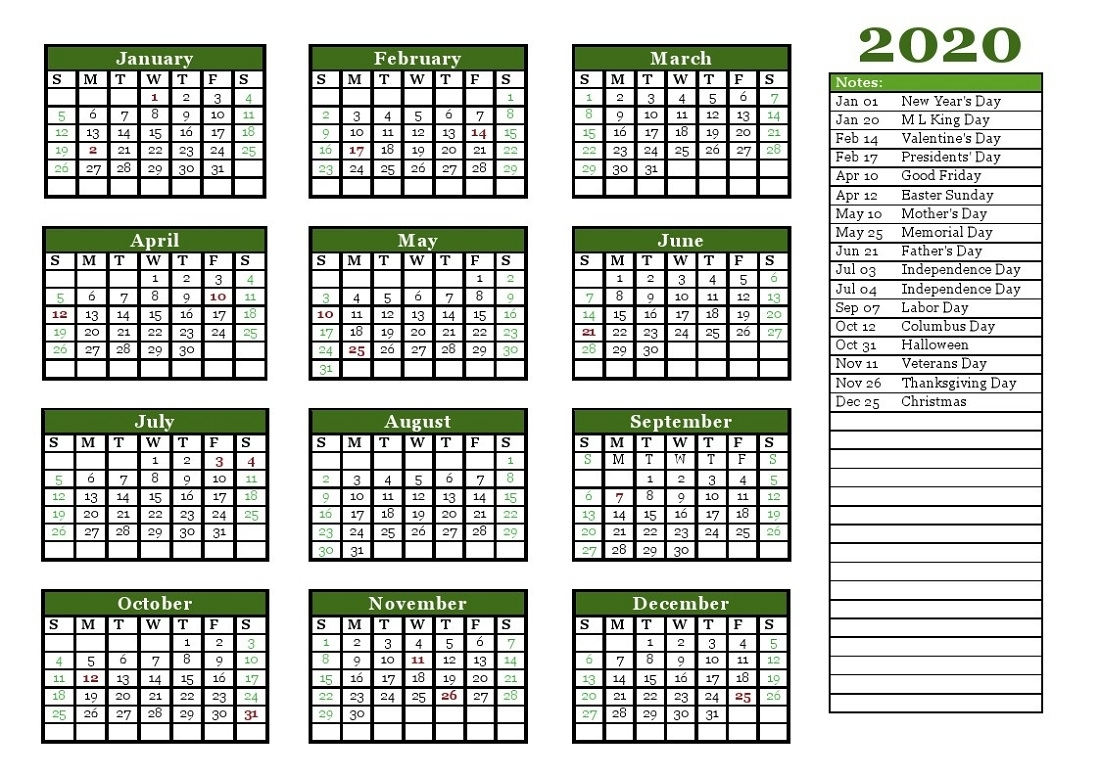 2020 Holiday Calendar Blank For Quick Usage
